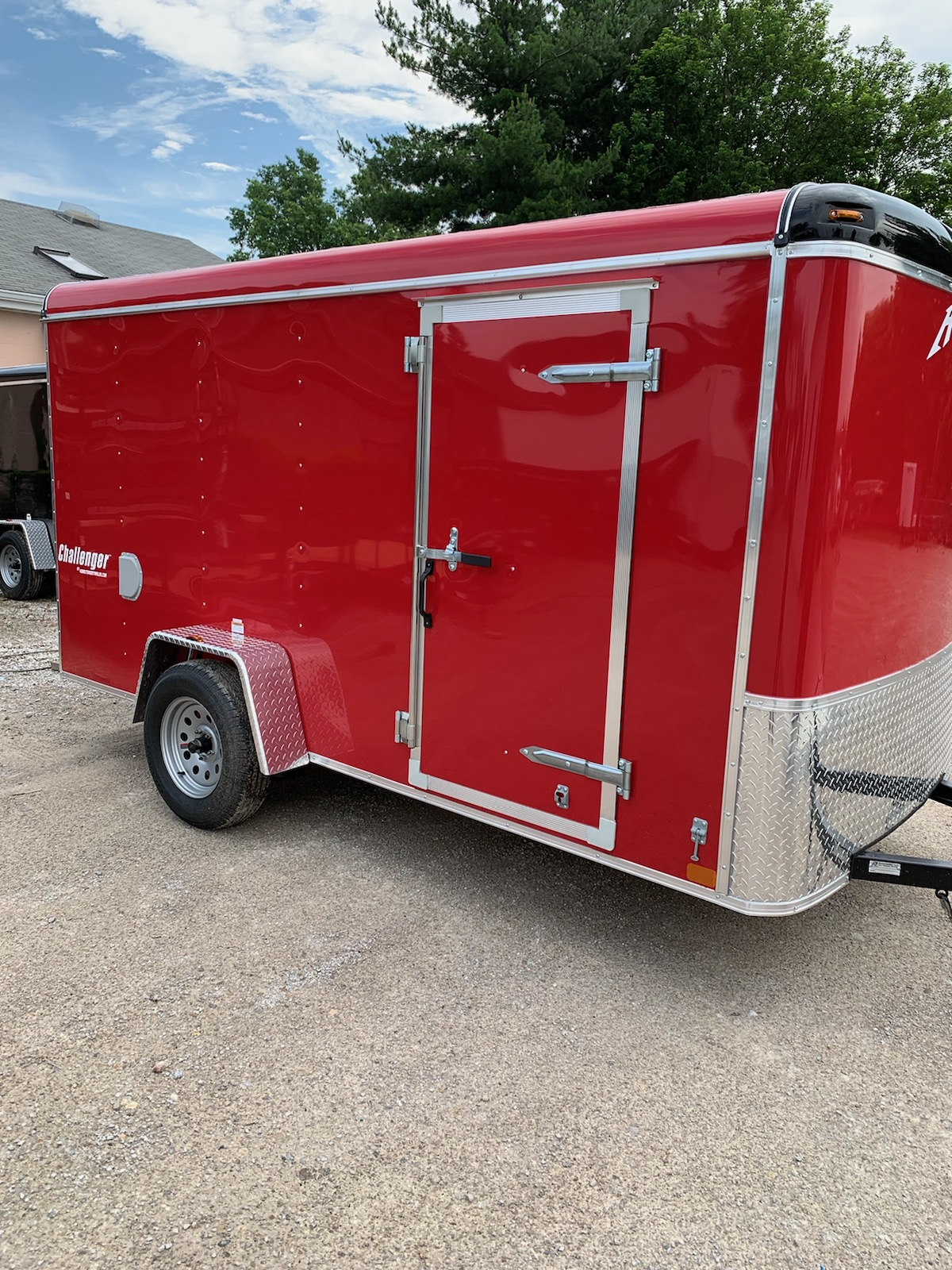 6X12CS Red enclosed trailer